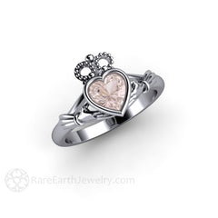Rare Earth Jewelry Heart Cut Morganite Ring 18K White Gold Bezel Setting