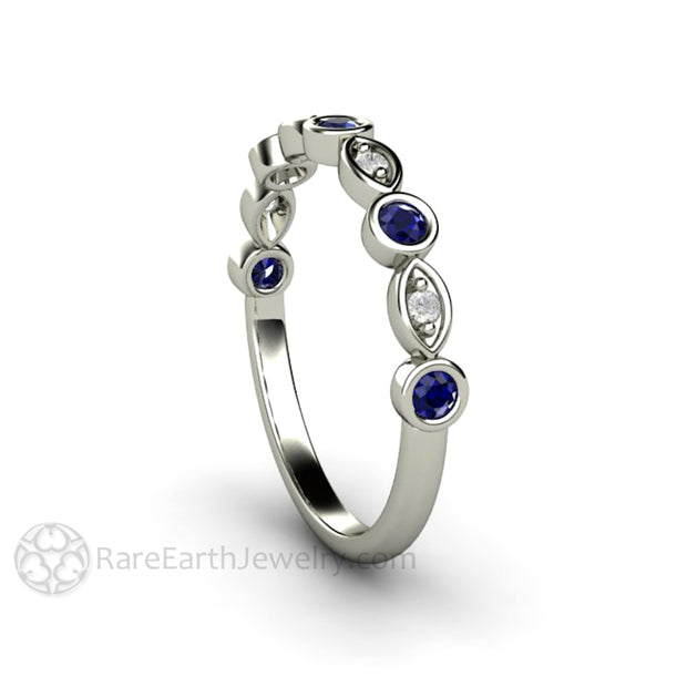 Sapphire Promise Ring White Gold Natural Diamond Accents Rare Earth Jewelry