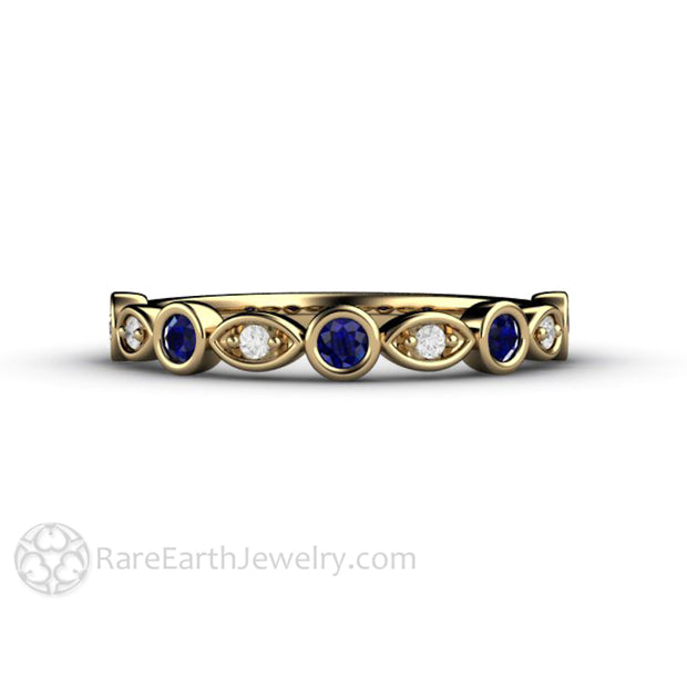 Sapphire Right Hand Ring 14K Yellow Gold with Diamonds Rare Earth Jewelry