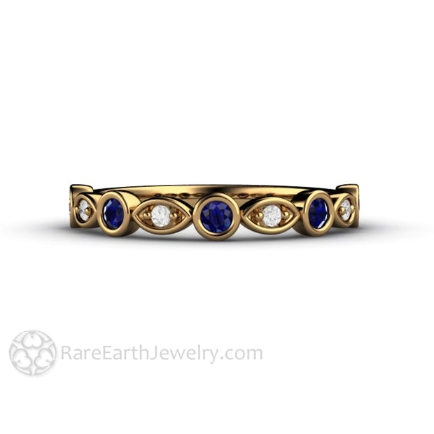 Sapphire Wedding Band 18K Yellow Gold Diamonds Rare Earth Jewelry