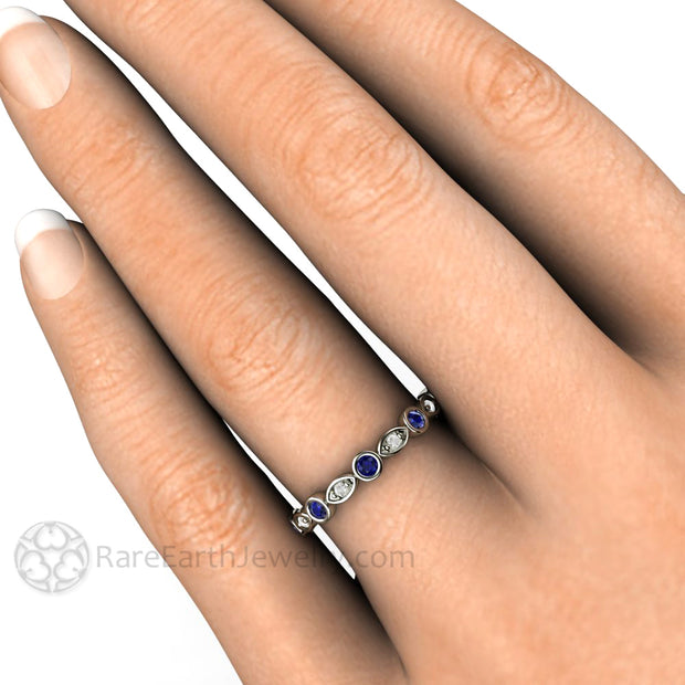 Sapphire Wedding Band White Gold on Finger Rare Earth Jewelry