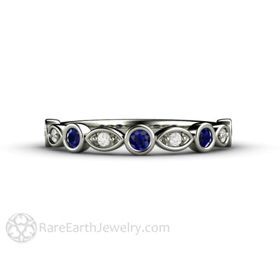 Blue Sapphire Wedding Ring with Diamonds Stackable Band 14K White Gold Rare Earth Jewelry