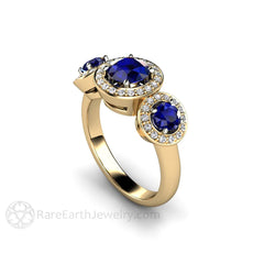 Blue Sapphire Diamond Halo Ring 14K September Birthstone Rare Earth Jewelry