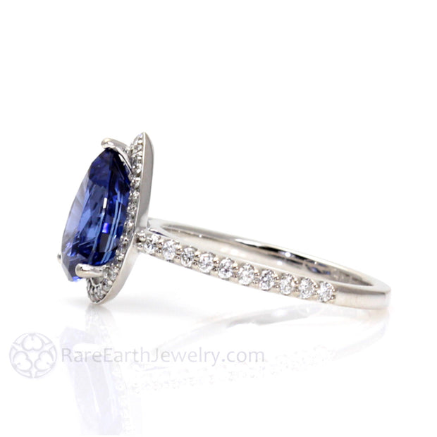 Rare Earth Jewelry Pear Shaped Blue Sapphire Diamond Halo Ring September Birthstone