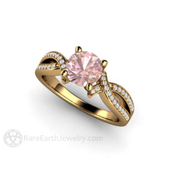 18K Pink Sapphire Infinity Wedding Ring 1ct Round Cut Rare Earth Jewelry
