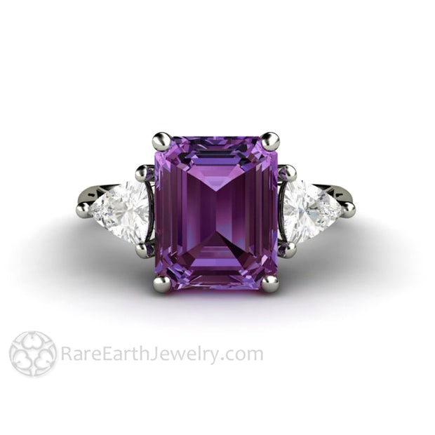 Rare Earth Jewelry Emerald Cut Purple Sapphire 3 Stone Ring with White Sapphire Accent Stones 14K