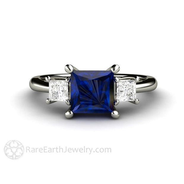 Rare Earth Jewelry Princess Cut Blue Sapphire 3 Stone Engagement Ring Diamond Side Stones