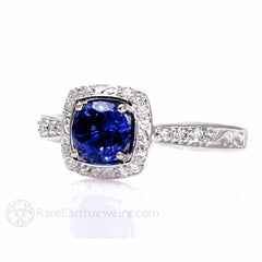 Rare Earth Jewelry Vintage Style Blue Sapphire Ring Diamond Accent Stones September Birthstone