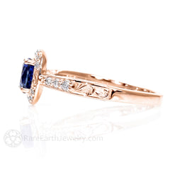 Rare Earth Jewelry 18K Rose Gold Vintage Inspired Sapphire Ring Diamond Halo Round Cut