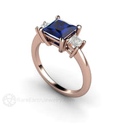 Rare Earth Jewelry Princess Blue Sapphire Right Hand Ring Rose Gold 3 Stone Setting