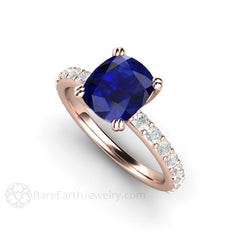18K Double Prong Sapphire Solitaire Ring Cushion Cut Rare Earth Jewelry