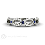 Rare Earth Jewelry Sapphire and Diamond Infinity Wedding Ring