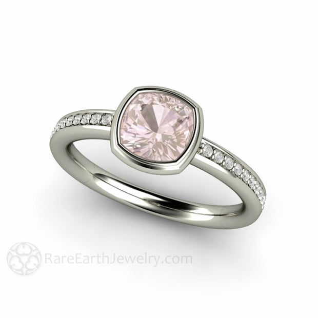 Rare Earth Jewelry Cushion Pink Sapphire Ring Bezel Solitaire with Diamonds 14K White Gold