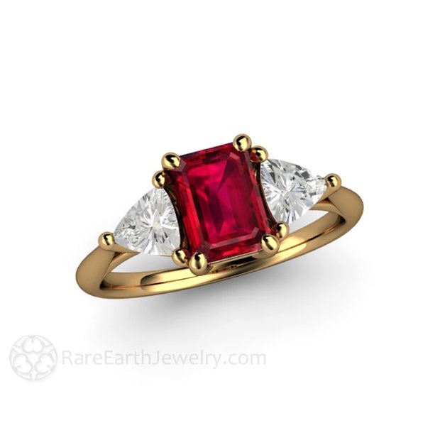 18K Gold Ruby Bridal Ring Emerald Cut 3 Stone Rare Earth Jewelry
