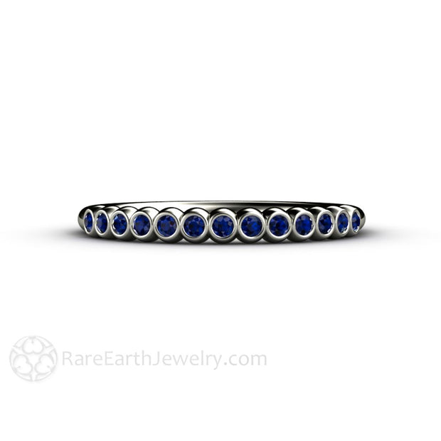Rare Earth Jewelry September Birthstone Ring Bezel Set Natural Blue Sapphire