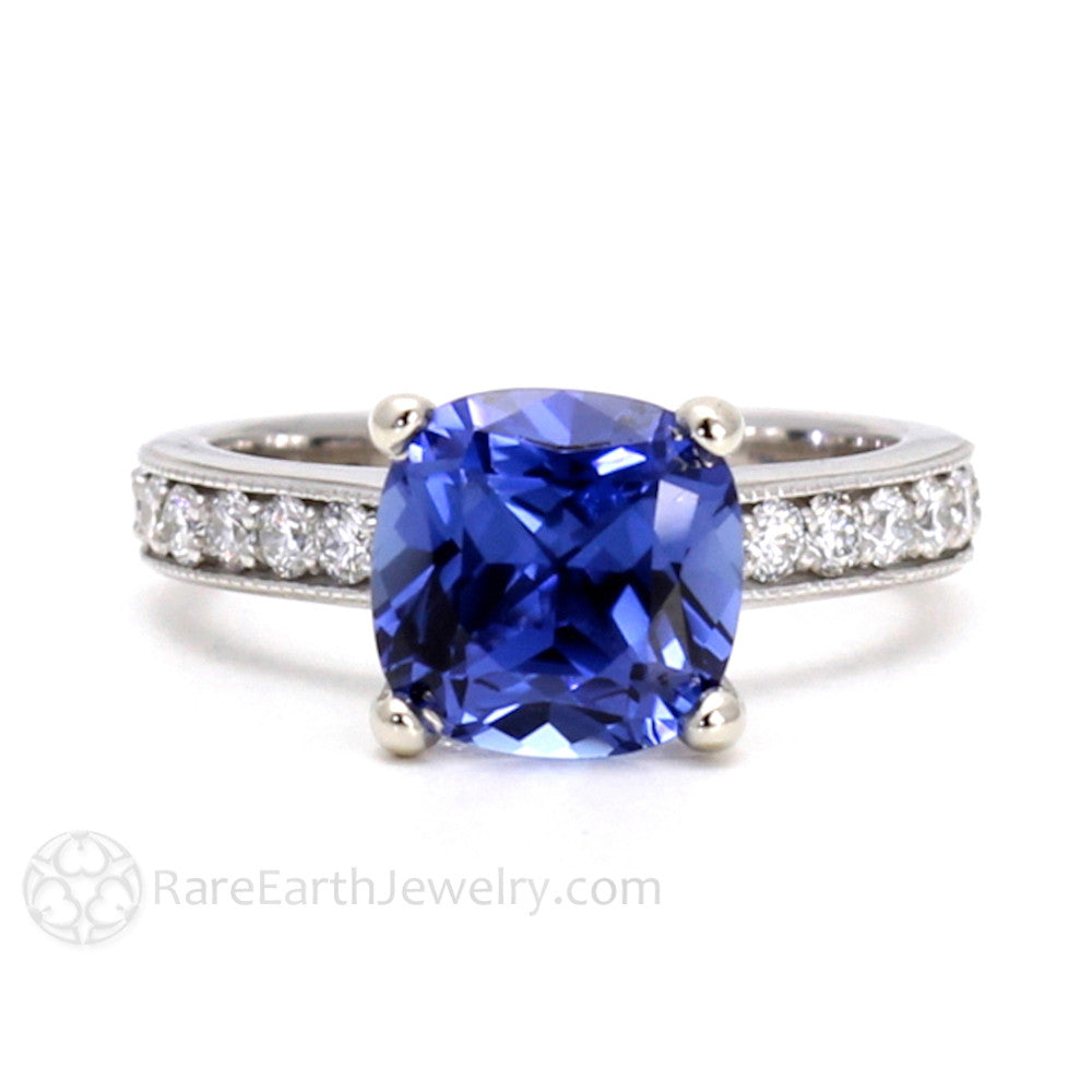 Rare Earth Jewelry Blue Sapphire Engagement Ring Cushion Cut 14K