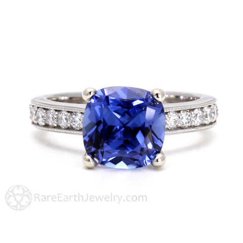 3ct Cushion Cut Blue Sapphire Engagement Ring Cathedral Solitaire with Diamonds