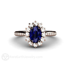 Rare Earth Jewelry Blue Sapphire Wedding Ring Diamond Halo and Accents Rose Gold Setting