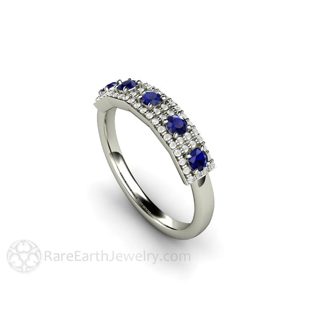 Rare Earth Jewelry 5 Stone Blue Sapphire Art Deco Ring
