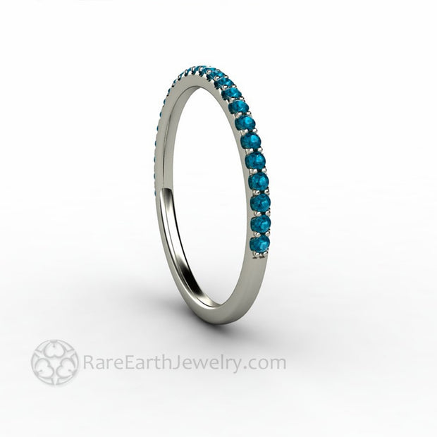 Side View 1.5mm Super Thin Teal Blue Diamond Ring Stackable Band