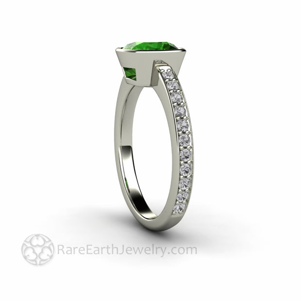 Side View Green Tourmaline Ring with Diamond Band from Rare Earth Jewelry