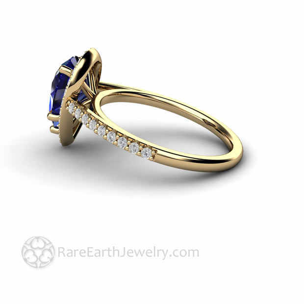 Side View Pear Cut Blue Sapphire Halo Ring
