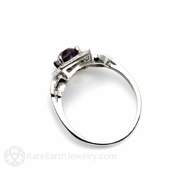 Purple Spinel Engagement Ring Vintage Inspired Diamond Halo Buckle Design