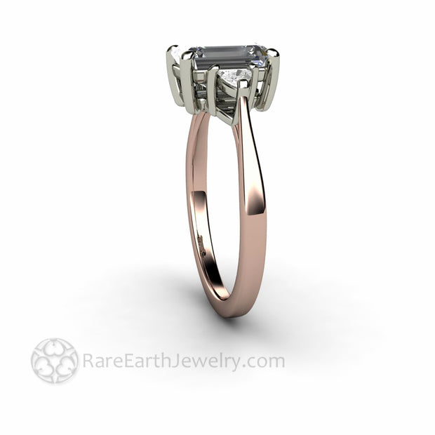 Side View Rare Earth Jewelry 3 Stone Gray Moissanite Ring