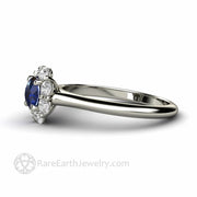 Side View Blue Sapphire and Diamond Cluster Ring in White Gold