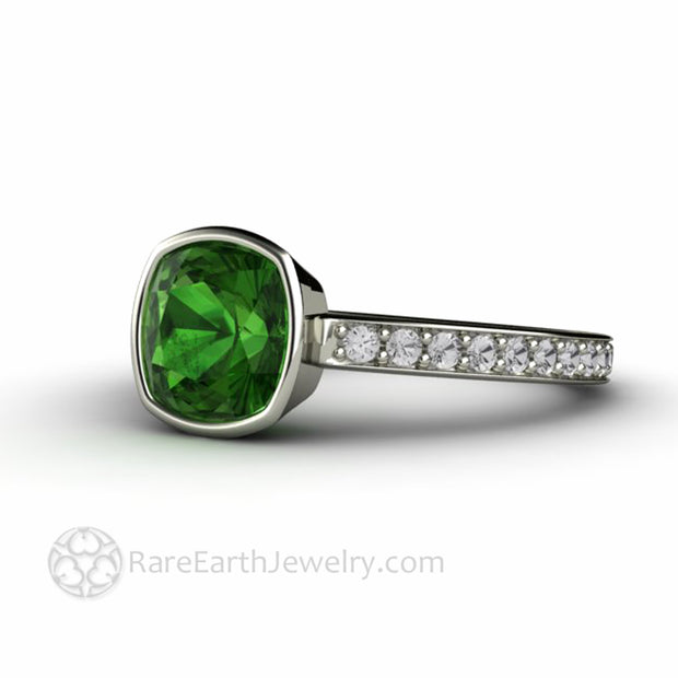 Simple Bezel Set Ring with Green Tourmaline Gemstone and Diamonds handmade by Rare Earth Jewelry