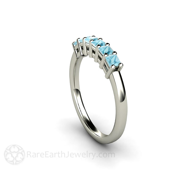Princess Cut Aquamarine Stackable Ring Rare Earth Jewelry