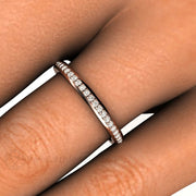 Stackable Diamond Wedding Ring 4K or 18K Gold Rare Earth Jewelry