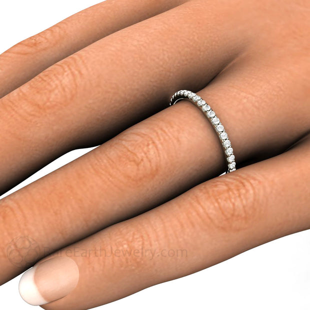Petite Thin Diamond Band on Finger Rare Earth Jewelry