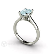 Rare Earth Jewelry Aquamarine Solitaire Anniversary or March Birthstone Ring 14K or 18K Gold