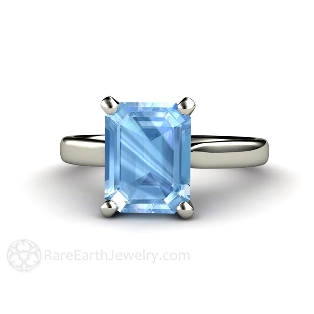 Rare Earth Jewelry Emerald Cut Aquamarine Solitaire Ring March Birthstone