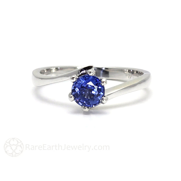 Rare Earth Jewelry Ceylon Blue Round Cut Sapphire Ring