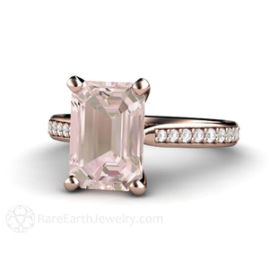 Rare Earth Jewelry Solitaire Morganite Ring Emerald Cut Engagement