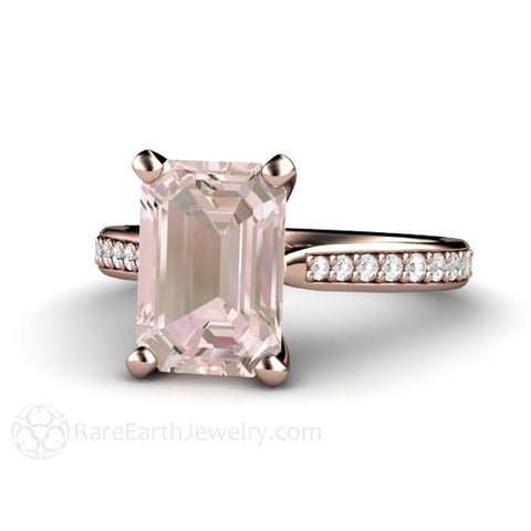 Solitaire Morganite Ring Engagement Ring Emerald Cut with Diamonds