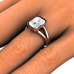 White Sapphire Right Hand Ring on Finger Rare Earth Jewelry