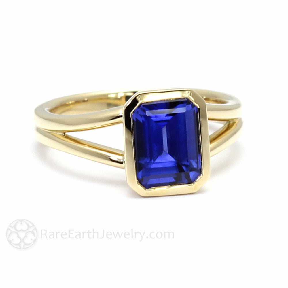September Birthstone Ring Emerald Blue Sapphire Solitaire