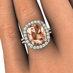 Large 5ct Cushion Morganite Diamond Halo Split Shank Ring 14K Rare Earth Jewelry