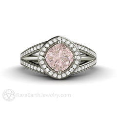 Light Pink Sapphire Halo Bridal Ring Cushion Cut Rare Earth Jewelry
