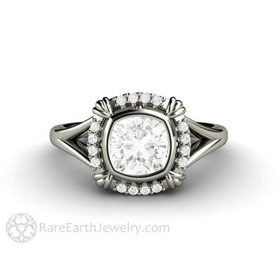 Rare Earth Jewelry Forever One Moissanite Engagement Ring 1 Carat Cushion Cut Bezel Setting Art Deco Halo Design