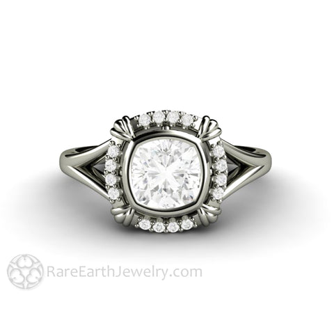 Art Deco Engagement Ring Forever One Moissanite 1ct Cushion Bezel