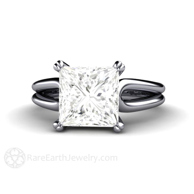 Rare Earth Jewelry Princess Cut Moissanite Engagement Ring 3ct Solitaire Diamond Alternative