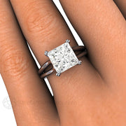 Rare Earth Jewelry Princess Cut Moissanite on Finger Split Shank Solitaire Setting