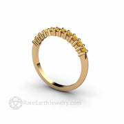 Stackable Yellow Diamond Ring Round Cut 14K - Rare Earth Jewelry