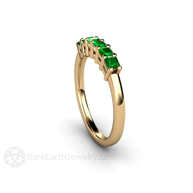 14K Yellow Gold Princess Green Garnet Ring Rare Earth Jewelry