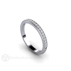 Platinum Wedding Ring with Diamonds and Milgrain Detail