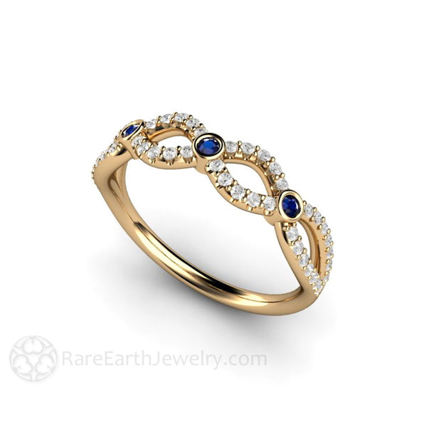 Blue Sapphire and Diamond Anniversary Band Rare Earth Jewelry